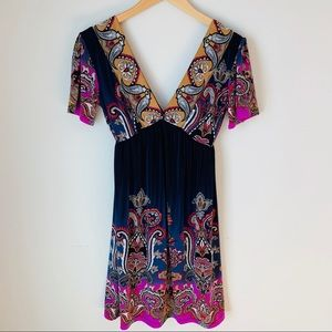 Pixie Low V-neck Boho Empire Dress